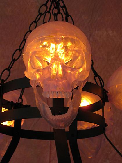 5 Clear Skull Chandelier No Candles Halloween Prop Human